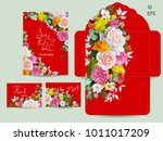 Stock vector wedding set with spring flowers 1011017209