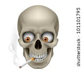 Human Skull  with eyes and cigarette. Illustration on white background - stock vector