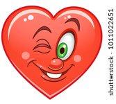 cartoon red heart wink.... | Shutterstock .eps vector #1011022651