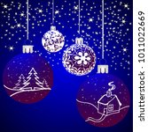 christmas background with balls ... | Shutterstock .eps vector #1011022669
