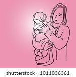 vector art drawing of young... | Shutterstock .eps vector #1011036361