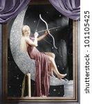 woman sitting on crescent moon... | Shutterstock . vector #101105425