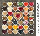 health food for a healthy heart ... | Shutterstock . vector #1011058165