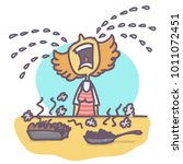woman crying big tears over... | Shutterstock .eps vector #1011072451