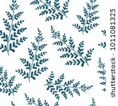 hand drawn fern leaves. vector... | Shutterstock .eps vector #1011081325