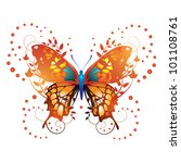 stylized red butterfly with... | Shutterstock . vector #101108761