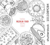 mexican food top view. a set of ... | Shutterstock .eps vector #1011089284