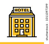 outline icon hotel building.... | Shutterstock . vector #1011097399