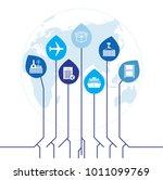 global logistics network. map...   Shutterstock .eps vector #1011099769