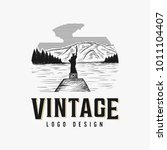 vintage hand drawn lake logo... | Shutterstock .eps vector #1011104407