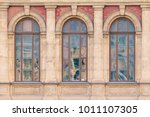 three windows in a row on the... | Shutterstock . vector #1011107305