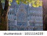 view on facade of old trondheim ... | Shutterstock . vector #1011114235