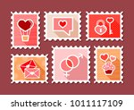 valentines day postage stamps.... | Shutterstock .eps vector #1011117109