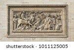 Small photo of Bas relief stone Sculpture of Battle of Abukir, detail of Arc de Triomphe, Paris