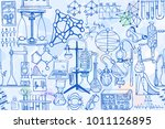 vector seamless pattern with... | Shutterstock .eps vector #1011126895