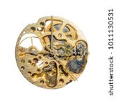 Small photo of Watch mechanism isolated on white background with a clipping path.