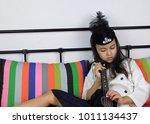 photographing a child in a... | Shutterstock . vector #1011134437