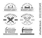 set of vintage carpentry ... | Shutterstock . vector #1011153145