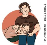 sweet couple of young man and...   Shutterstock .eps vector #1011158821
