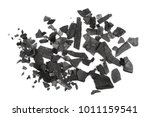 pile charcoal isolated on white ... | Shutterstock . vector #1011159541