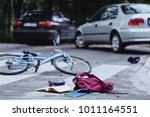 backpack and broken child's... | Shutterstock . vector #1011164551