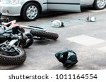 overturned motorcycle and... | Shutterstock . vector #1011164554