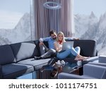 young couple relaxing at luxury ... | Shutterstock . vector #1011174751