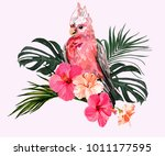 beautiful floral exotic vector ... | Shutterstock .eps vector #1011177595
