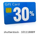 one gift card with the number thirty and percent symbol (3d render) - stock photo