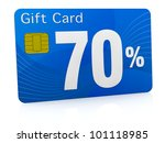 one gift card with the number seventy and percent symbol (3d render) - stock photo
