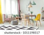 geometric carpet in colorful... | Shutterstock . vector #1011198517