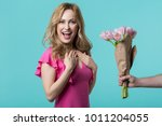 impressed girl is laughing... | Shutterstock . vector #1011204055