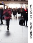 people on the move in the railway station - stock photo