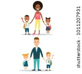 flat family with children... | Shutterstock .eps vector #1011207931
