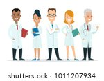 flat male and female doctors... | Shutterstock .eps vector #1011207934