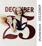woman bursting through calendar ... | Shutterstock . vector #101120809