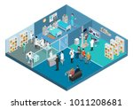 flat isometric medical center... | Shutterstock .eps vector #1011208681