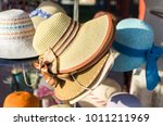 woman's straw hats with... | Shutterstock . vector #1011211969