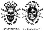 set of skulls king and queen.... | Shutterstock .eps vector #1011223174