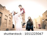 arabic family playing with child | Shutterstock . vector #1011225067