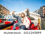 couple of lovers on vacation in ... | Shutterstock . vector #1011245899
