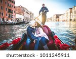 couple of lovers on vacation in ... | Shutterstock . vector #1011245911