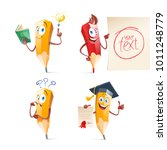 set of cute funny pencil... | Shutterstock .eps vector #1011248779