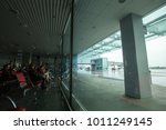 Small photo of May 15, 2014 Ukraine interior of the international airport Borispol: A new terminal for the departure of aircraft. Topic of air travel and tourism.