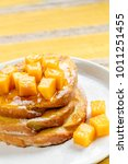 french toast with fresh mango... | Shutterstock . vector #1011251455