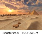 pyramids in the desert  sandy... | Shutterstock . vector #1011259375