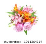 alstroemeria and rose in a... | Shutterstock . vector #1011264319