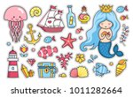 mermaid  jellyfish  cute sea... | Shutterstock .eps vector #1011282664