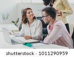 business team working on a... | Shutterstock . vector #1011290959