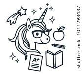 cute unicorn wearing eyeglasses ... | Shutterstock .eps vector #1011293437